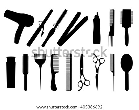 Hairdressing isolated equipment icons.