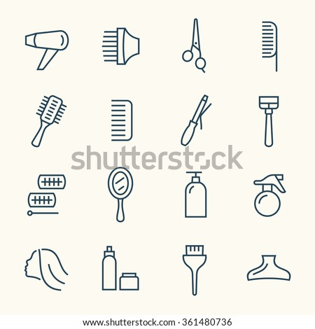 Hairdressing line icon set