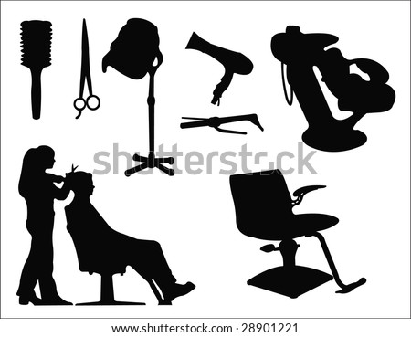 Hair Supply on Hairdressing Salon Supplies Silhouette Stock Vector 28901221