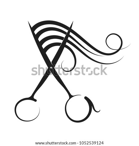 Hairdressing scissors and curl hair silhouette vector