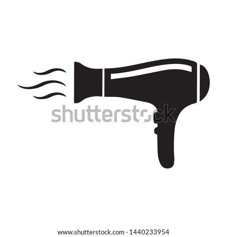 Hairdryer icon, hair dryer black vector icon isolated