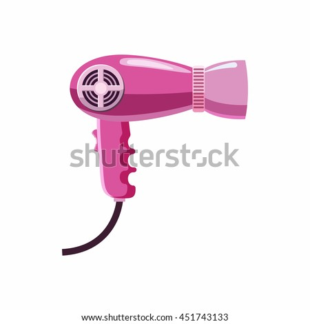 Hairdryer icon in cartoon style isolated on white background. Hair care symbol