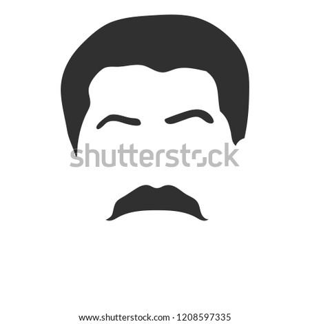Hairstyle and mustache like Joseph Stalin. Template for changing face style. Avatars design. Black hair, eyebrows and mustache isolated on white. Caricature template with correct form and proportions. Stock photo ©