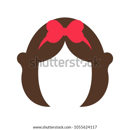 Hairstyle of fairy-tale character, woman wig periwig slightly curly hair with bow of pink color as decorative element, isolated on vector illustration
