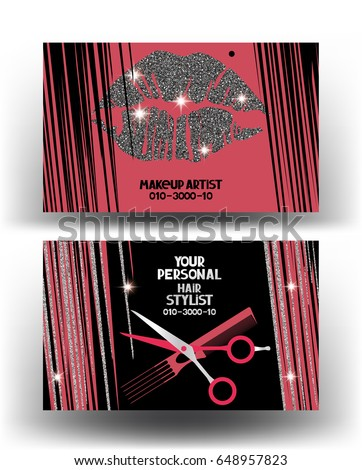 Hairstylist and makeup artist business cards with woman's hair and lips. Vector illustration