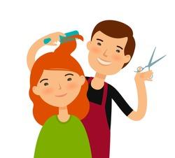 Hairstylist cutting hair. Women's haircut, beauty saloon, fashion concept. Funny cartoon vector illustration