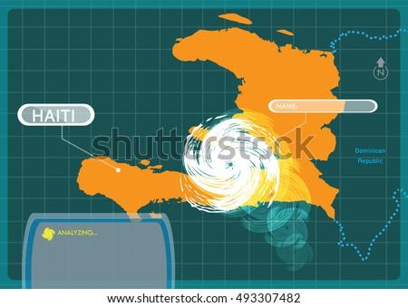 haiti with a hurricane making a