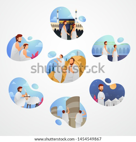 Hajj and umrah guide set Vector illustration