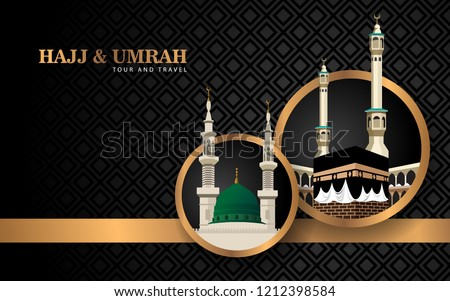 Hajj and Umrah luxury background with gold and ornament