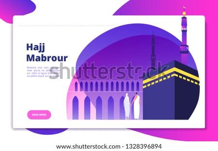 Hajj concept. Umrah hajj pray saudi people praying mabrour muslims travel makkah haram modern flat vector website design