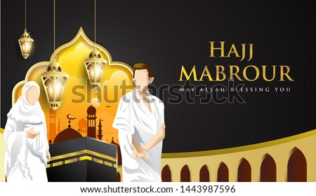 Hajj Mabrour background with Kaaba, man and woman Hajj Character