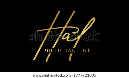 HAL Hal Beauty vector golden signature name logo, Handwritten logo, Golden color handwriting name logo, with creative vector template for any company or business. Stok fotoğraf ©