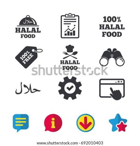 Halal food icons. 100% natural meal symbols. Chef hat with spoon and fork sign. Natural muslims food. Browser window, Report and Service signs. Binoculars, Information and Download icons. Vector