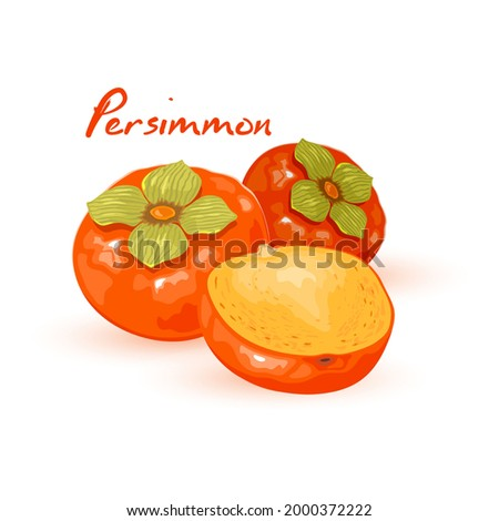 Half and whole of juicy persimmon, tropical fruit, mellow exotic product. Vector healthy eating, summer snack, vegetarian food idea isolated on white background Foto stock ©