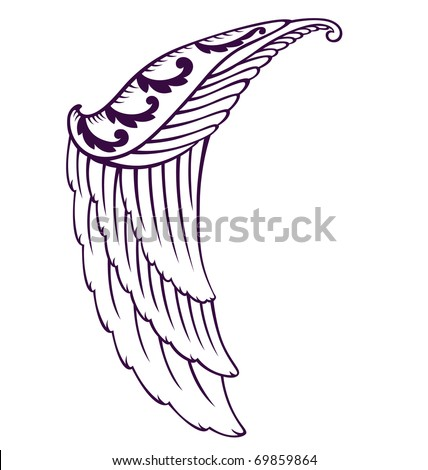 stock vector Half bird wing illustrated with tattoo style and organic