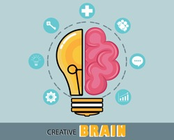 Half bulb and half brain symbol cognitive processes. Creative thinking, problem-solving, positive mindset, and using ideas to find good things.Vector Illustration.