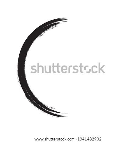 Half Circle Brush Stroke Border Frame . Grunge Element for your Design .  . Vector illustration Сток-фото ©