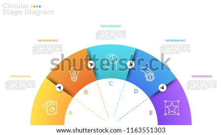 Half circle divided into 5 colorful sectors with thin line icons, letters and arrows. Semi-circular diagram with five stages or steps. Modern infographic design template. Vector illustration.