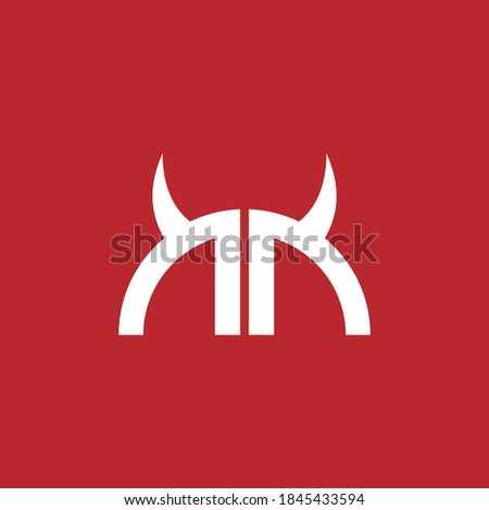 Half circle of letter N mirrored with devil horn shape for initial logo or identity. Foto stock ©