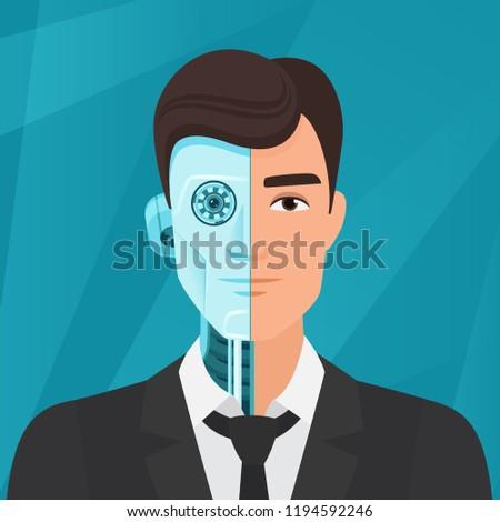 Half cyborg, half human man businessman vector illustration.