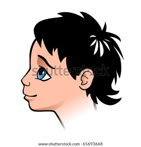 Half face child looking up. Vector illustration.