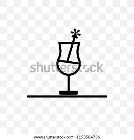 Half filled cocktail glass vector icon isolated on transparent background, Half filled cocktail glass logo concept