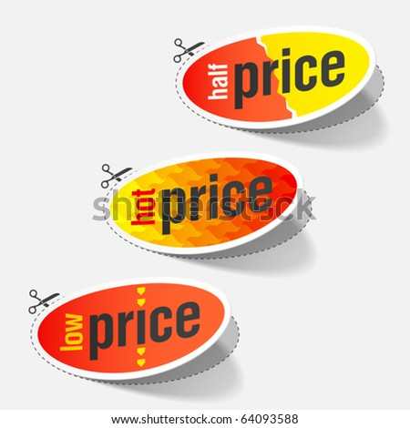 Half, hot and low price tags. Vector.