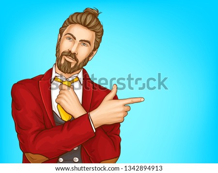 Half-length portrait of attractive hipster men in red suit, loosening his tie, pointing with finger on copyspace pop art vector illustration. Mens fashion concept, clothing shop ad banner template