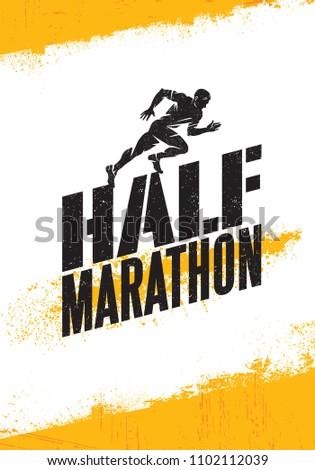 Half Marathon Active Sport Event Advertisement Banner Concept. Creative Sport Design Element On Rough Background With Grunge Texture.