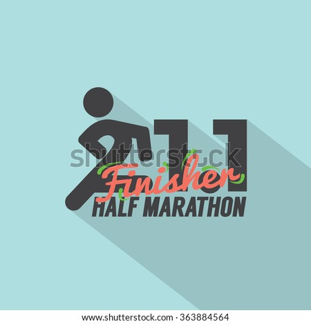 Half Marathon Finisher Typography Design Vector Illustration