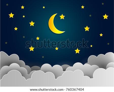 half moon and stars in midnight