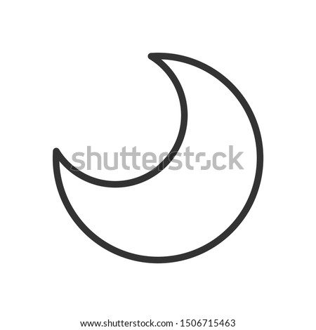 Half moon line icon. Black outline Halloween night symbol. Lunar contour in minimal style. Editable stroke. Vector illustration isolated on white background.