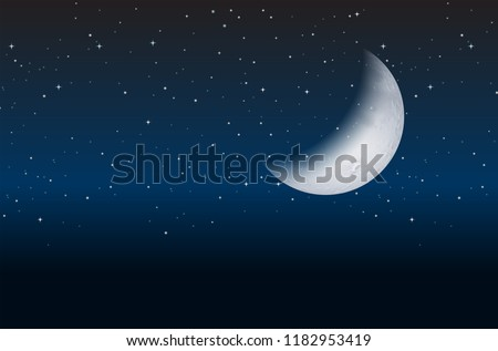 half moon on sky  illustration