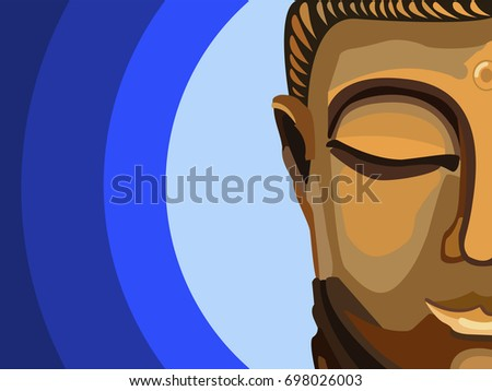 Half Of A Buddhas Face In Meditating State Spirituality Peace Mindfulness Concept Illustration