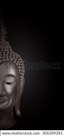 half of a buddha's face on