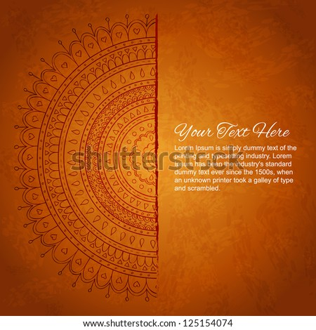 Half of mandala ornament with space for your text. Vector image