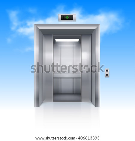 half open chrome metal elevator