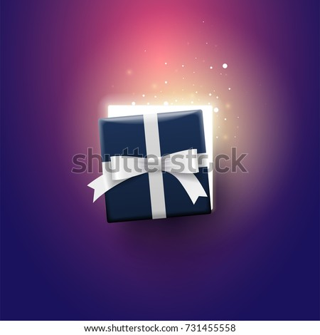Half open gift box with magical lights. Surprise concept.
