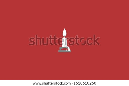 half part of candle vector in red background. This candle vector has melted wax candles. This candle consists of a candle stick, candles flame and candles holder. Flat Candles vector illustration.