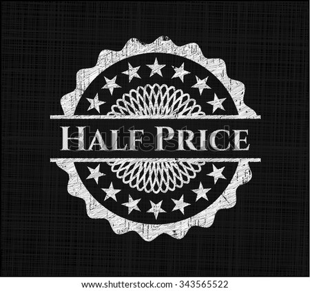 Half Price chalkboard emblem written on a blackboard