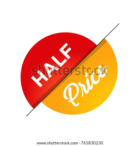 half price off sale graphic poster with shopping tag. Big sale banner