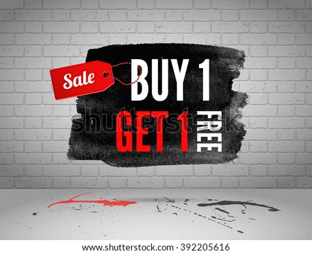 Half price sale on grunge background. Buy 1 get 1 free watercolor discount banner. Black friday big sale banner on brick wall background. Buy one get one free sale graphic poster with shopping tag.