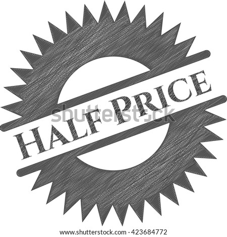 Half Price with pencil strokes