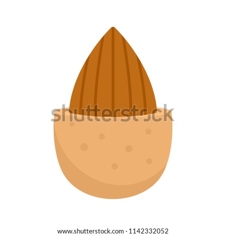 Half shell almond icon. Flat illustration of half shell almond vector icon for web isolated on white