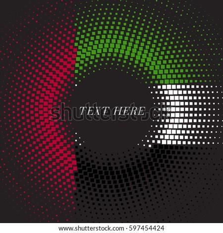 Half tone square round gradient template United Arab Emirates flag