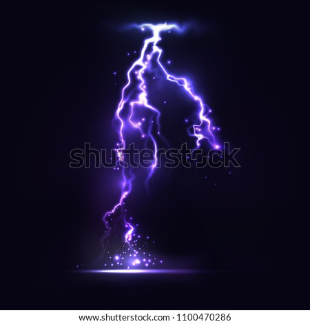 Half transparent lightning bolt on dark background.Vector electric light thunder spark. Blue lightning or magic power blast storm template for your creative design.