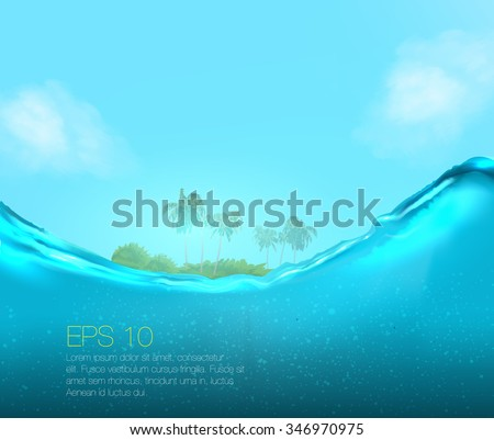 half underwater view of vector