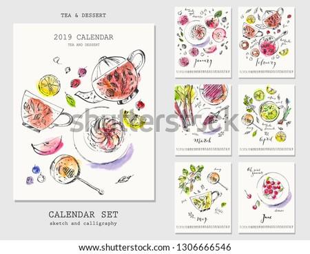 Half year calendar with ink calligraphy and watercolor sketches of seasonal dessert. Fruit, berries, cakes, rhubarb pie, jam, tart, macaroon, marshmallow, lemonade, tea.