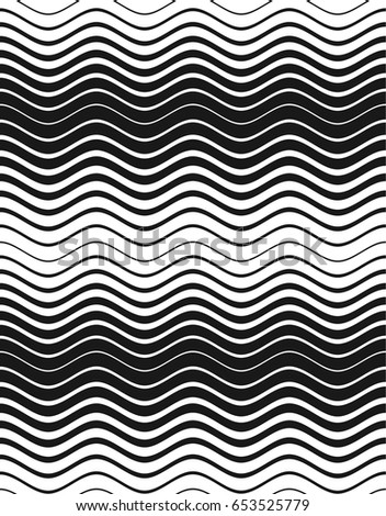 Halftone abstract waves texture. Vector seamless pattern. Black and white background.