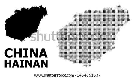 Halftone and solid map of Hainan Island composition illustration. Vector map of Hainan Island composition of x-cross items on a white background.